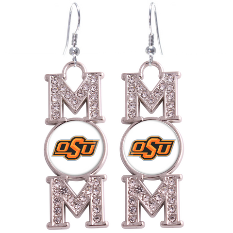 "Oklahoma State Cowboys ""Mom"" Crystal Silver Earrings"