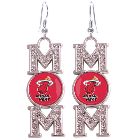 "Miami Heat ""Mom"" Crystal Silver Earrings"