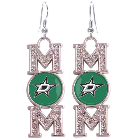 "Dallas Stars ""Mom"" Crystal Silver Earrings"