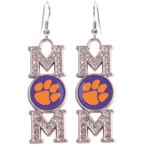 "Clemson Tigers ""Mom"" Crystal Silver Earrings"