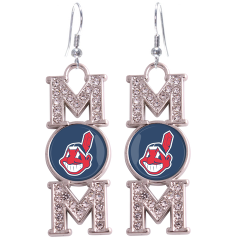 "Cleveland Indians ""Mom"" Crystal Silver Earrings"