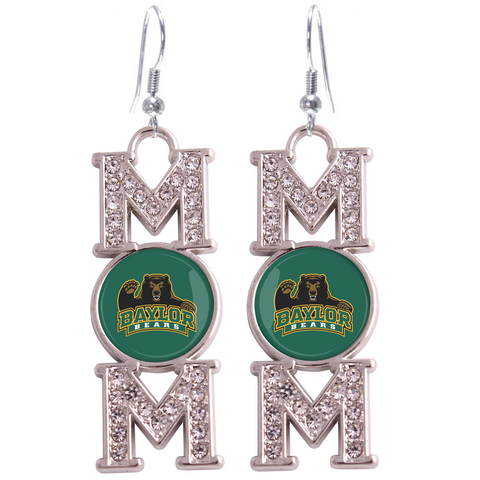 "Baylor Bears ""Mom"" Crystal Silver Earrings"