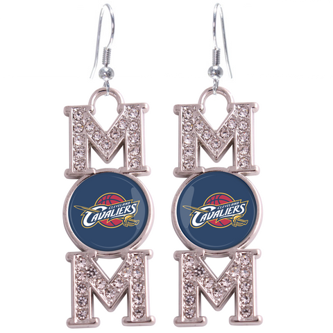 "Cleveland Cavaliers ""Mom"" Crystal Silver Earrings"