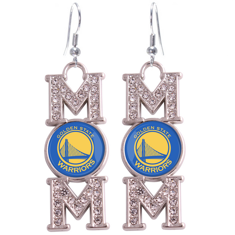"Golden State Warriors ""Mom"" Crystal Silver Earrings"
