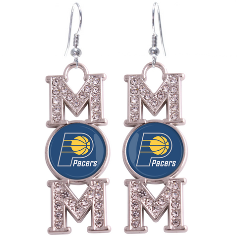 "Indiana Pacers ""Mom"" Crystal Silver Earrings"