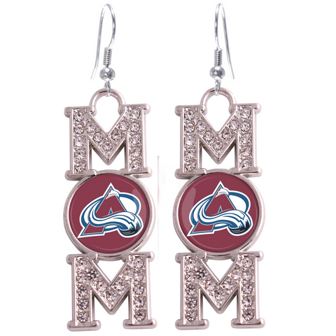 "Colorado Avalanche ""Mom"" Crystal Silver Earrings"