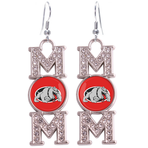 "Georgia Bulldogs ""Mom"" Crystal Silver Earrings"