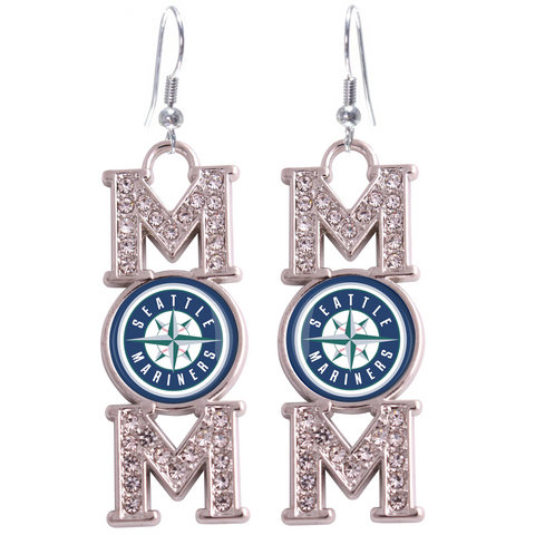 "Seattle Mariners ""Mom"" Crystal Silver Earrings"