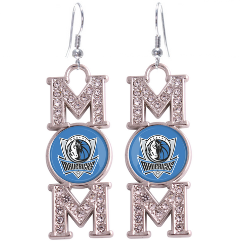 "Dallas Mavericks ""Mom"" Crystal Silver Earrings"