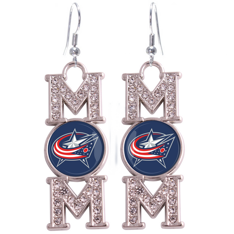 "Columbus Blue Jackets ""Mom"" Crystal Silver Earrings"