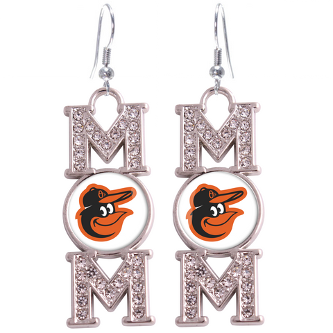 "Baltimore Orioles ""Mom"" Crystal Silver Earrings"