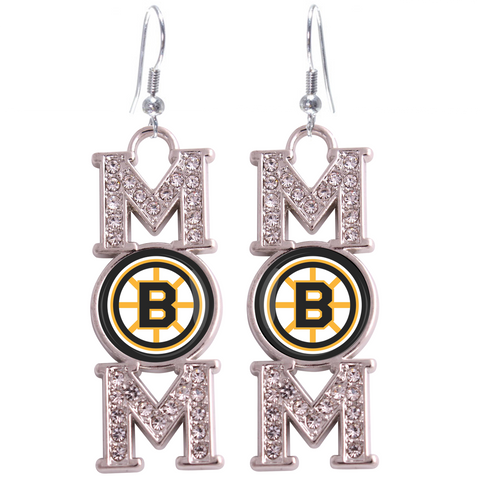 "Boston Bruins ""Mom"" Crystal Silver Earrings"