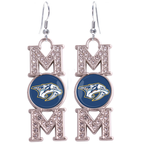 "Nashville Predators ""Mom"" Crystal Silver Earrings"