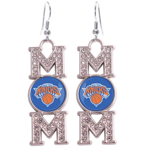 "New York Knicks ""Mom"" Crystal Silver Earrings"
