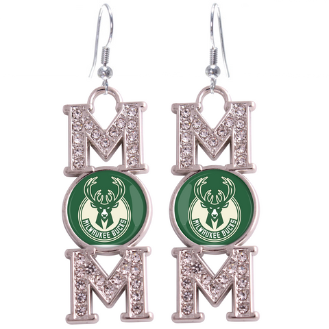 "Milwaukee Bucks ""Mom"" Crystal Silver Earrings"