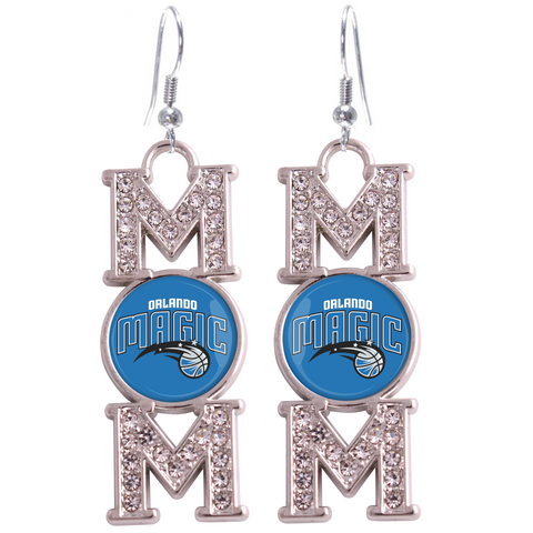 "Orlando Magic ""Mom"" Crystal Silver Earrings"