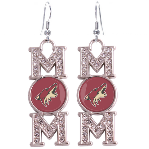 "Arizona Coyotes ""Mom"" Crystal Silver Earrings"