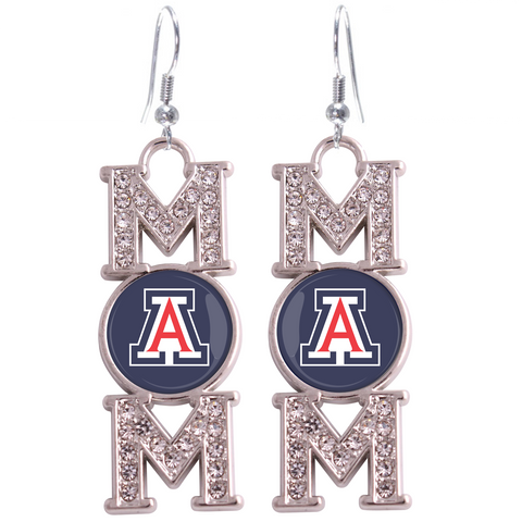 "Arizona Wildcats ""Mom"" Crystal Silver Earrings"