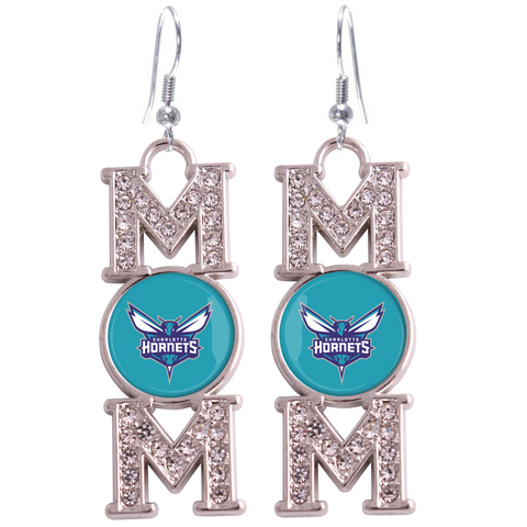 "Charlotte Hornets ""Mom"" Crystal Silver Earrings"