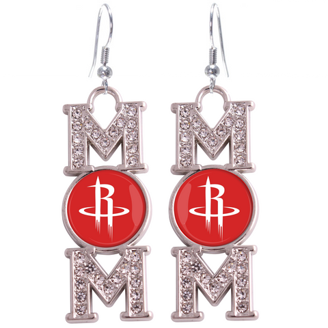 "Houston Rockets ""Mom"" Crystal Silver Earrings"