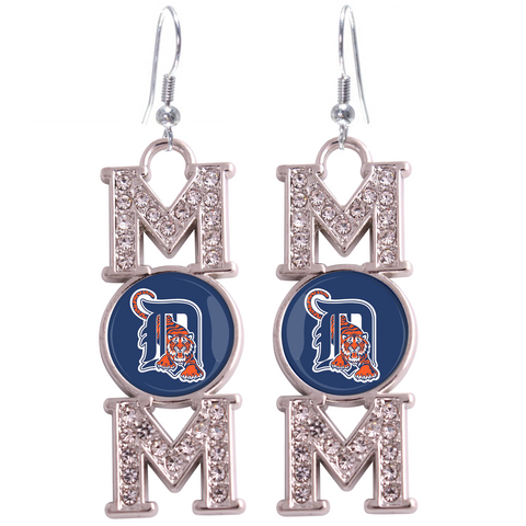 "Detroit Tigers ""Mom"" Crystal Silver Earrings"