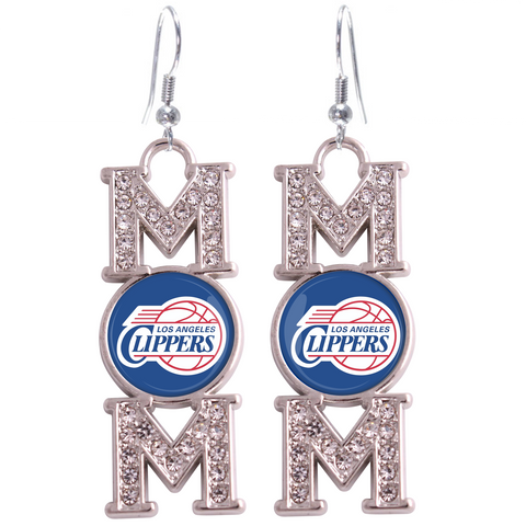 "Los Ageles Clippers ""Mom"" Crystal Silver Earrings"