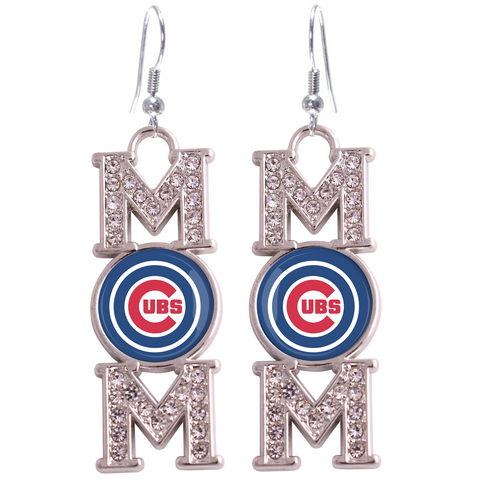 "Chicago Cubs ""Mom"" Crystal Silver Earrings"