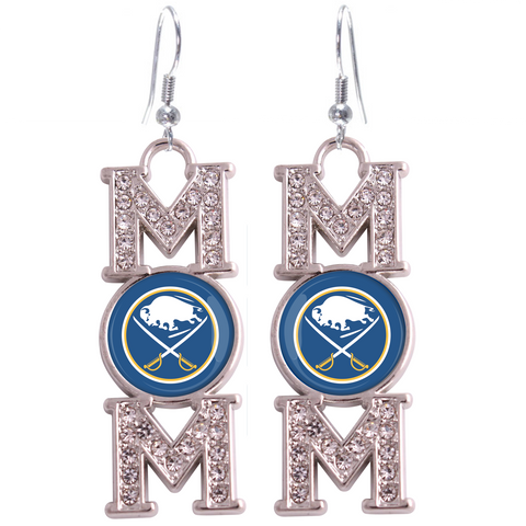 "Buffalo Sabres ""Mom"" Crystal Silver Earrings"