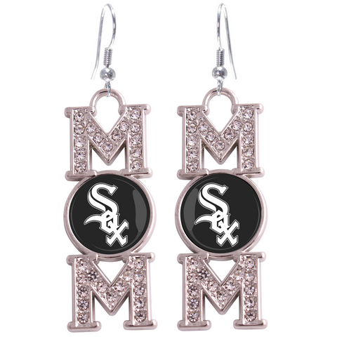 "Chicago White Sox ""Mom"" Crystal Silver Earrings"