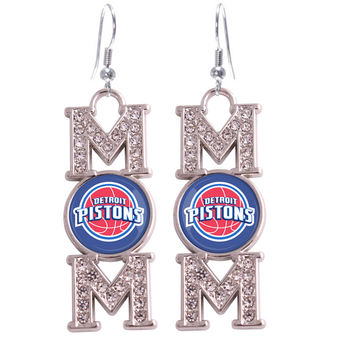 "Detroit Pistons ""Mom"" Crystal Silver Earrings"