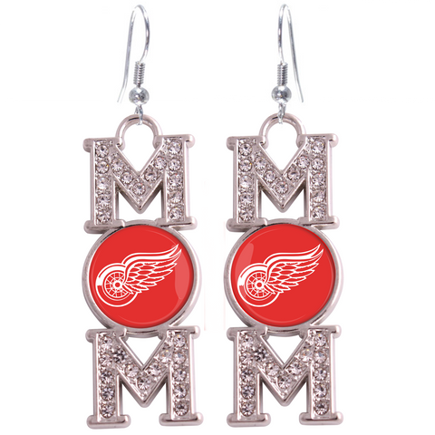 "Detroit Red Wings ""Mom"" Crystal Silver Earrings"