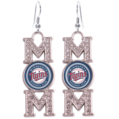 "Minnesota Twins ""Mom"" Crystal Silver Earrings"