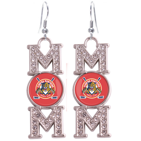 "Florida Panthers ""Mom"" Crystal Silver Earrings"