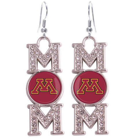 "Minnesota Golden Gophers ""Mom"" Crystal Silver Earrings"