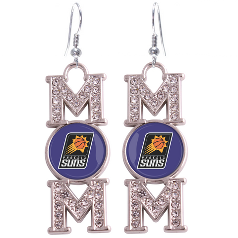 "Phoenix Suns ""Mom"" Crystal Silver Earrings"