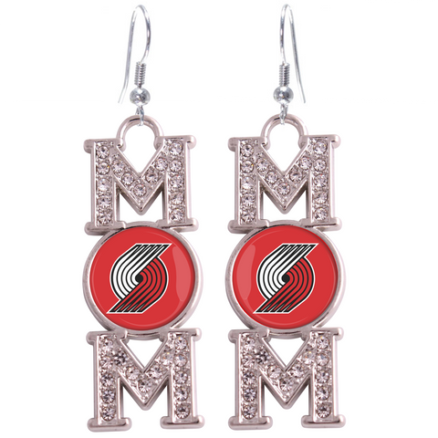 "Portland Trail Blazers ""Mom"" Crystal Silver Earrings"