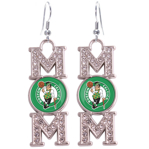 "Boston Celtics ""Mom"" Crystal Silver Earrings"