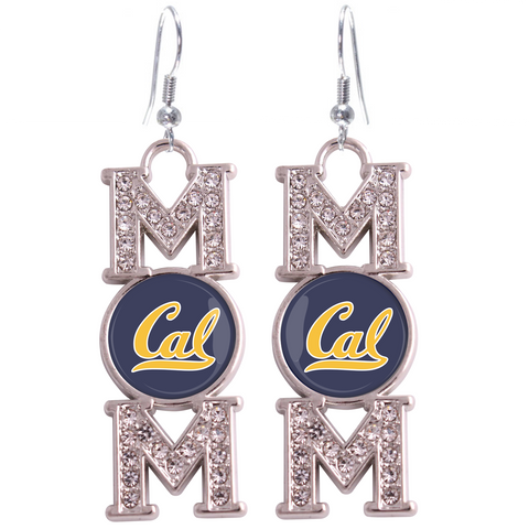 "California Golden Bears ""Mom"" Crystal Silver Earrings"