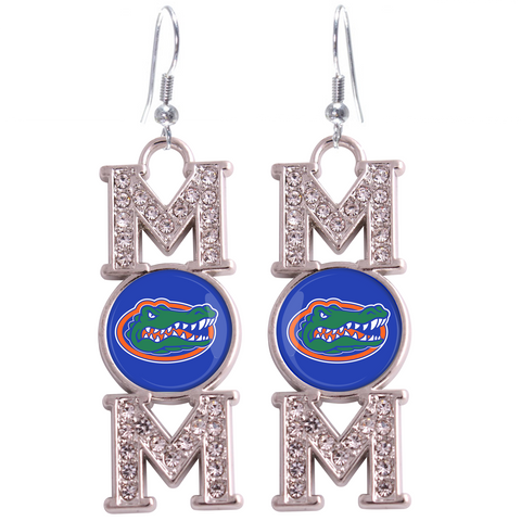 "Florida Gators ""Mom"" Crystal Silver Earrings"