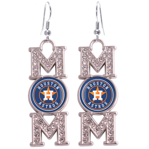 "Houston Astros ""Mom"" Crystal Silver Earrings"