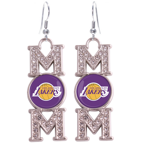 "Los Angeles Lakers ""Mom"" Crystal Silver Earrings"