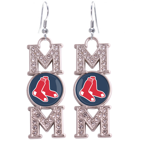 "Boston Red Sox ""Mom"" Crystal Silver Earrings"