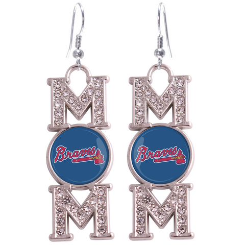 "Atlanta Braves ""Mom"" Crystal Silver Earrings"