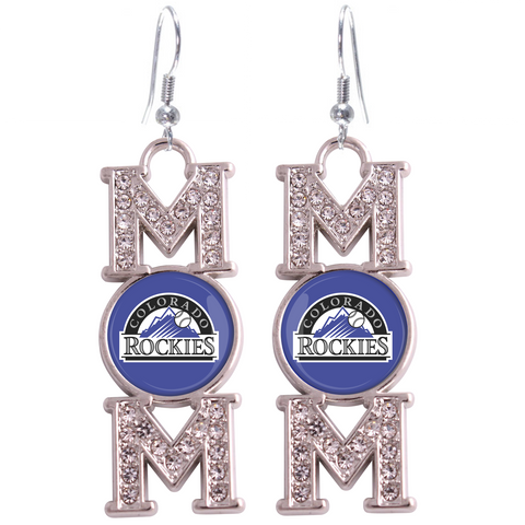 "Colorado Rockies ""Mom"" Crystal Silver Earrings"