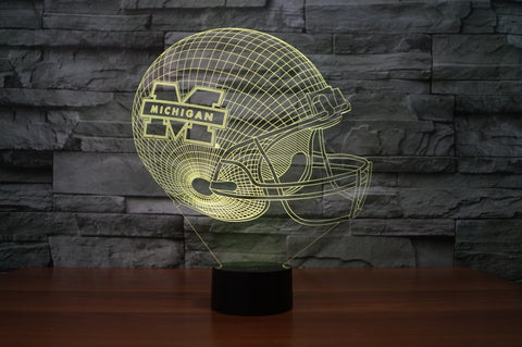 "Michigan Wolverines ""Helmet"" - 3D LED Lamp/Night Light"