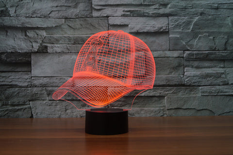 "Los Angeles Angels of Anaheim ""Baseball Cap"" - 3D LED Lamp/Night Light"