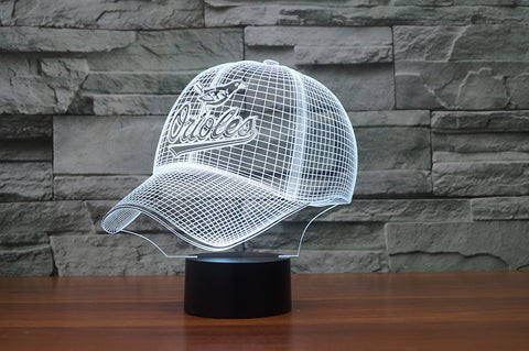 "Baltimore Orioles ""Baseball Cap"" - 3D LED Lamp/Night Light"