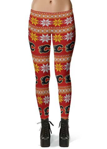 Calgary Flames Ugly Knit Leggings