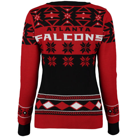 Atlanta Falcons Women's Big Logo V-Neck Ugly Sweater