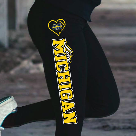 Love Michigan Wolverines Cotton Leggings